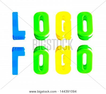 word logo from plastic letters on a white background