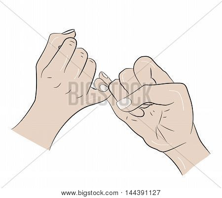 people cross their fingers. a symbol of the promise. vector illustration
