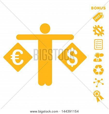Currency Trader icon with bonus pictograms. Vector illustration style is flat iconic symbols, yellow color, white background, rounded angles.