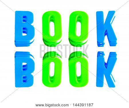 word book from plastic letters on a white background