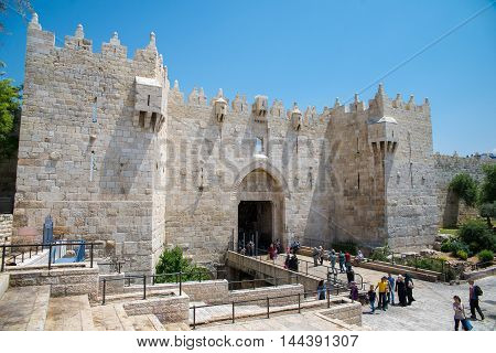 JERUSALEM, ISRAEL - JUNE 2, 2015: Damascus Gate  is one of the main entrances to the Old City of Jerusalem. June 2, 2015. Jerusalem, Israel.