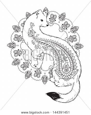 Coloring book pages for kids and adults. Ermine with paisley ornaments isolated vector illustration