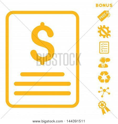 Invoice icon with bonus pictograms. Vector illustration style is flat iconic symbols, yellow color, white background, rounded angles.