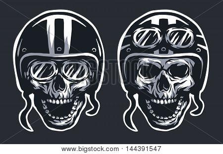 Skull biker in helmet and glasses, two versions. For a dark background.