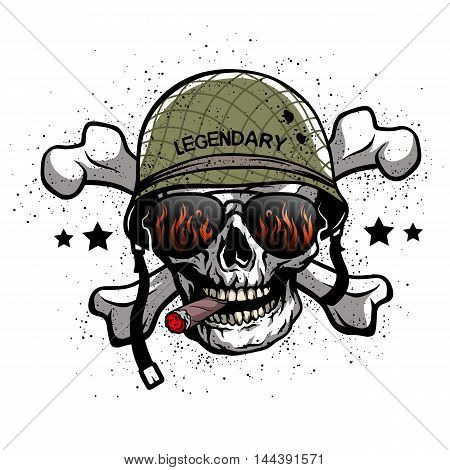 Skull with sunglasses and a military helmet. The illustration on the theme of the army.