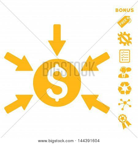 Money Income icon with bonus pictograms. Vector illustration style is flat iconic symbols, yellow color, white background, rounded angles.