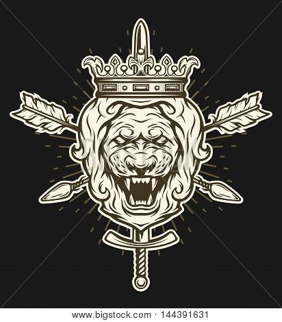 Vintage symbol of a lion head, a crown, sword and crossed arrows. Emblem, t-shirt graphic. For a dark background.