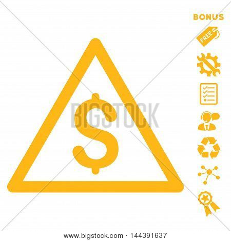 Money Warning icon with bonus pictograms. Vector illustration style is flat iconic symbols, yellow color, white background, rounded angles.