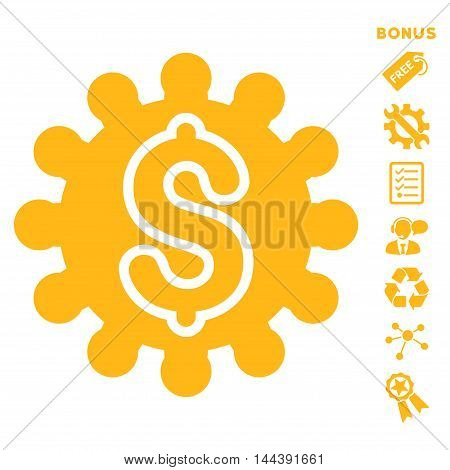 Payment Configuration icon with bonus pictograms. Vector illustration style is flat iconic symbols, yellow color, white background, rounded angles.
