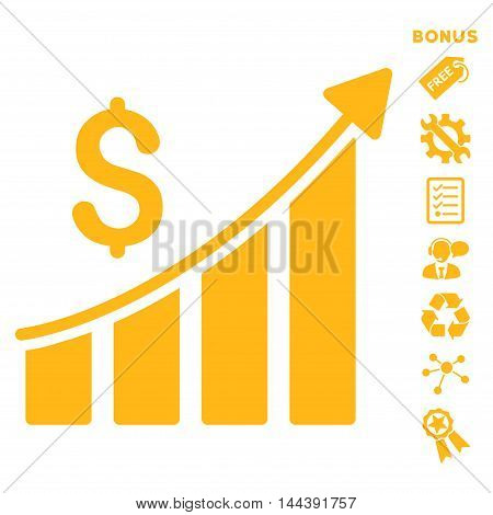Sales Growth Bar Chart icon with bonus pictograms. Vector illustration style is flat iconic symbols, yellow color, white background, rounded angles.