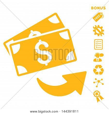 Send Money icon with bonus pictograms. Vector illustration style is flat iconic symbols, yellow color, white background, rounded angles.