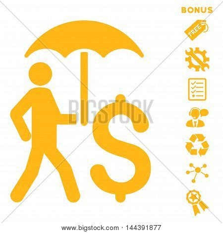 Walking Businessman With Umbrella icon with bonus pictograms. Vector illustration style is flat iconic symbols, yellow color, white background, rounded angles.