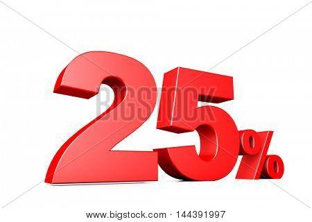 3d illustration business number 25 percent