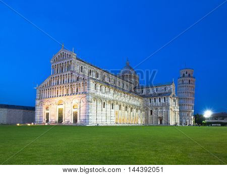 The Duomo and Leaning Tower of Pisa at dusk, Piazza Del Duomo, Campo dei Miracoli, Pisa, Italy, Europe