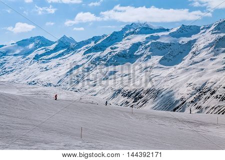 Slope on the skiing resort, European Alps