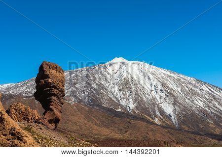 Rock on volcanic landscape, Teide Tenerife island
