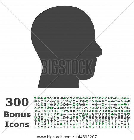 Head Profile icon with 300 bonus icons. Vector illustration style is flat iconic bicolor symbols, green and gray colors, white background.