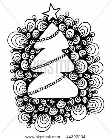 Abstract New Year tree with star and garland isolated on the white background