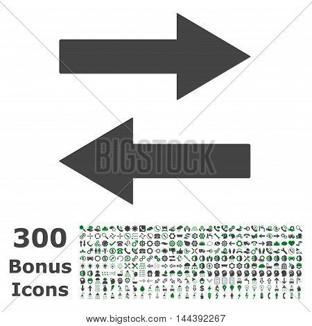 Horizontal Flip Arrows icon with 300 bonus icons. Vector illustration style is flat iconic bicolor symbols, green and gray colors, white background.