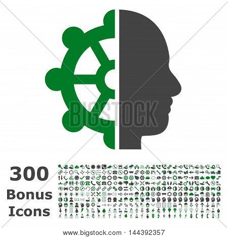 Intellect icon with 300 bonus icons. Vector illustration style is flat iconic bicolor symbols, green and gray colors, white background.