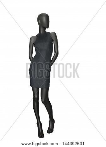 Full-length female mannequin dressed in black dress isolated on white background. No brand names or copyright objects.