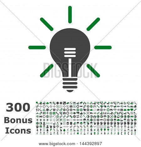 Light Bulb icon with 300 bonus icons. Vector illustration style is flat iconic bicolor symbols, green and gray colors, white background.