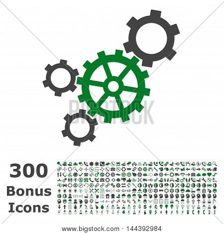 Mechanism icon with 300 bonus icons. Vector illustration style is flat iconic bicolor symbols, green and gray colors, white background.