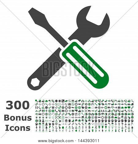 Options icon with 300 bonus icons. Vector illustration style is flat iconic bicolor symbols, green and gray colors, white background.
