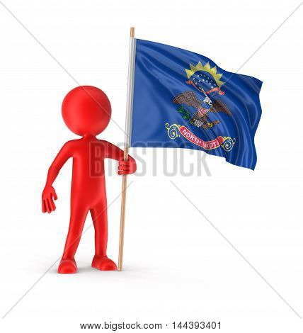3D Illustration. Man and flag of the US state of North Dakota. Image with clipping path