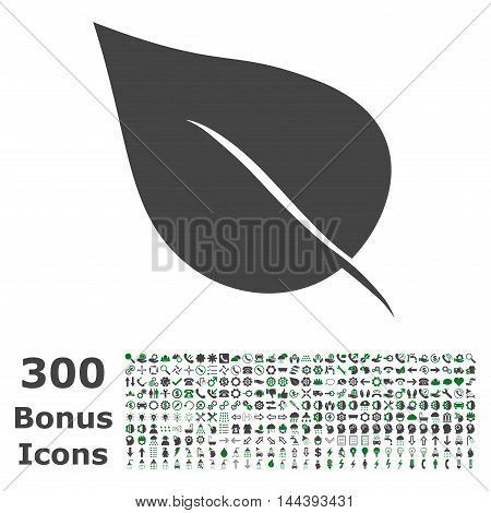 Plant Leaf icon with 300 bonus icons. Vector illustration style is flat iconic bicolor symbols, green and gray colors, white background.