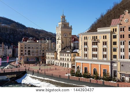 Sochi, Russia - February 10, 2016: Rosa Khutor Alpine Resort. Krasnaya Polyana, Krasnodar region. Constructed from 2003 to 2011