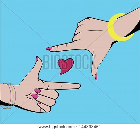 Woman hands photo frame. Vector illustration eps 10