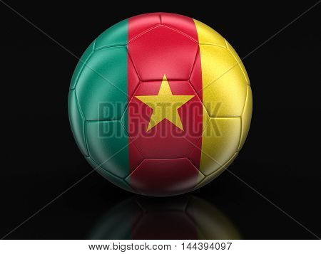 3D Illustration. Soccer football with Cameroon flag. Image with clipping path