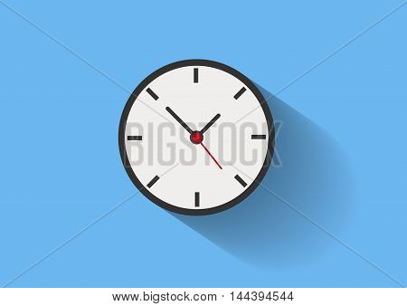 Clock long shadow flat vector blue white black red