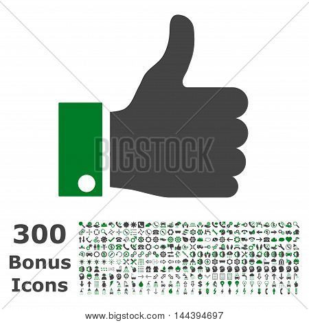 Thumb Up icon with 300 bonus icons. Vector illustration style is flat iconic bicolor symbols, green and gray colors, white background.