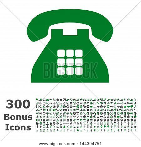 Tone Phone icon with 300 bonus icons. Vector illustration style is flat iconic bicolor symbols, green and gray colors, white background.