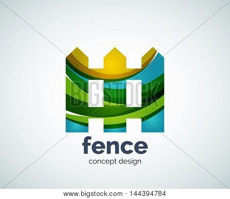 Vector house fence logo template, abstract business icon