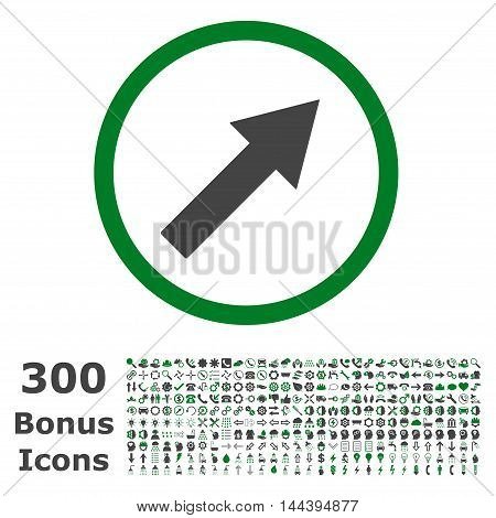 Up-Right Rounded Arrow icon with 300 bonus icons. Vector illustration style is flat iconic bicolor symbols, green and gray colors, white background.