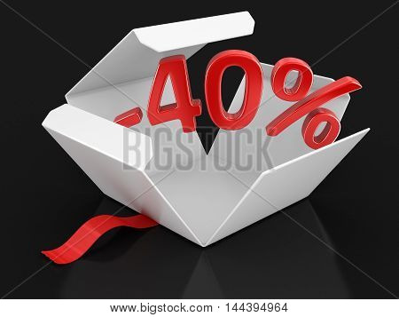 3D Illustration. Open package with -40%. Image with clipping path