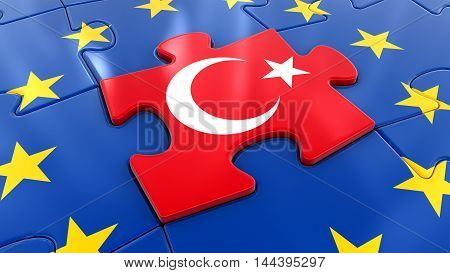 3D Illustration. Turkey Jigsaw as part of EU