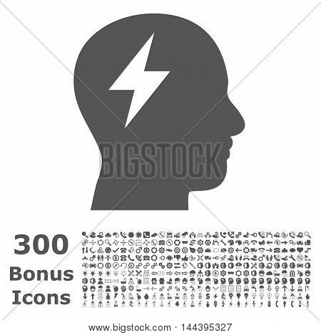 Brainstorming icon with 300 bonus icons. Vector illustration style is flat iconic symbols, gray color, white background.