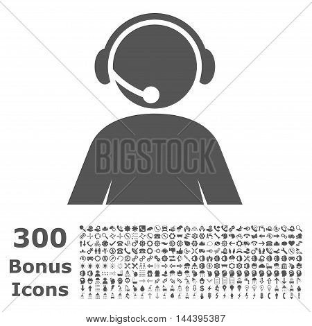 Call Center Operator icon with 300 bonus icons. Vector illustration style is flat iconic symbols, gray color, white background.