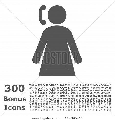 Calling Woman icon with 300 bonus icons. Vector illustration style is flat iconic symbols, gray color, white background.