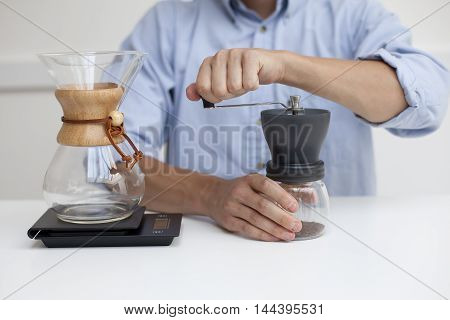 Fresh Coffee Brewing Alternative Method. Process Preparation