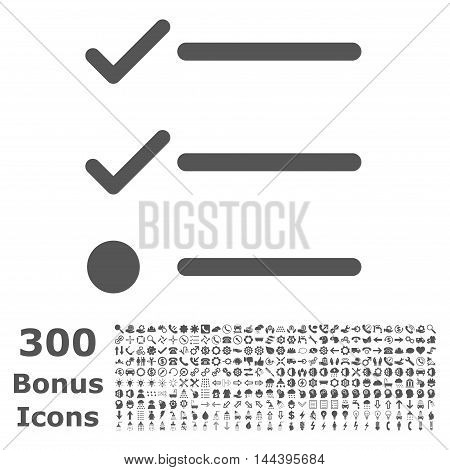 Checklist icon with 300 bonus icons. Vector illustration style is flat iconic symbols, gray color, white background.
