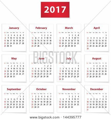 Calendar for 2017 year on white papers in English. Vector illustration