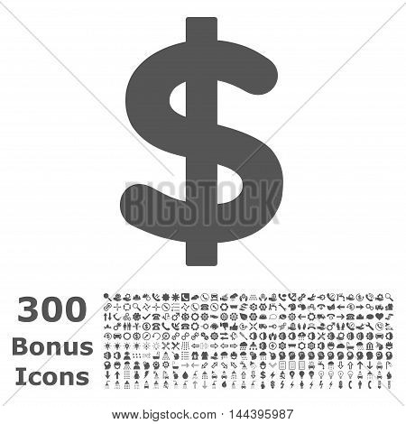 Dollar icon with 300 bonus icons. Vector illustration style is flat iconic symbols, gray color, white background.