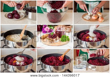 A Step by Step Collage of Making Marinated Spiced Beetroot Relish Preserves