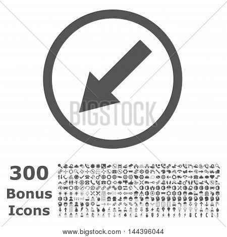 Down-Left Rounded Arrow icon with 300 bonus icons. Vector illustration style is flat iconic symbols, gray color, white background.