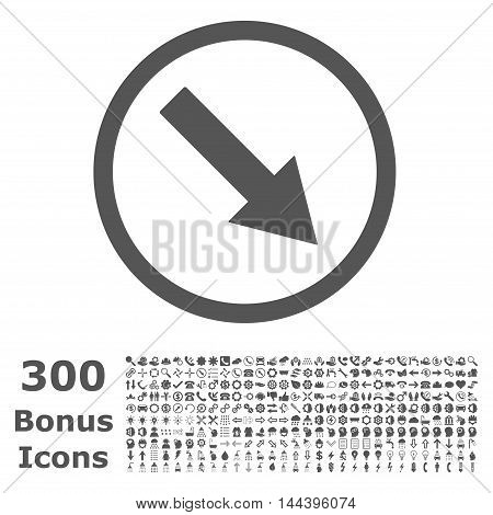 Down-Right Rounded Arrow icon with 300 bonus icons. Vector illustration style is flat iconic symbols, gray color, white background.